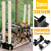 2PCS Firewood Rack Brackets Kit Adjustable Plastic Fire Wood Log Storage System