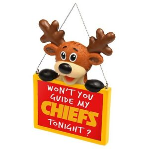 Kansas City Chiefs Reindeer with Sign Resin Holiday Christmas Tree Ornament New