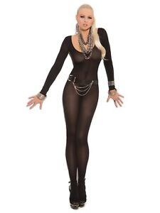 Elegant Moments Opaque Long Sleeve Bodystocking With Open Crotch