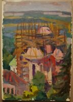 Russian Ukrainian Soviet Oil Painting Impressionist church architecture Kiev