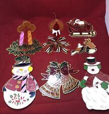 7 Vintage Christmas Plastic WIndow Sun Catchers Holiday Decor