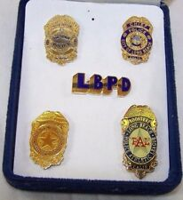 City of Long Beach CA Mini Badge Set, Chief, Police Officer, Boosters FREE SHIP!
