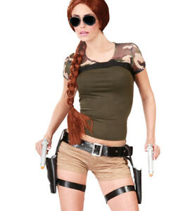 Lara Croft Style Tomb Raider Twin Guns & Holster Fancy Dress Thigh Pistols Gun
