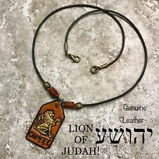 YAHUSHA Necklace Lion Of JUDAH Paleo Hebrew Leather Yeshua Gold Lion Messianic