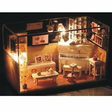 Wooden Dollhouse Miniatures DIY House Kit with Light Furnitures Sweet Home