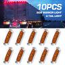 10pcs Amber 4 SMD LED Side Marker Tail Lights Clearance Lamp Truck Trailer 12V