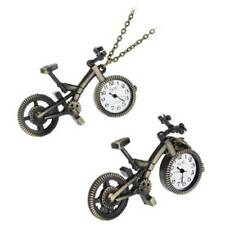 Collection Bronze Alloy Bicycle Quartz Pocket Watch Pendant Chain Necklace Gifts