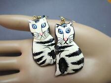 VTG Hand Painted Cat Earrings Wood Light Weight Pierced Black White Enamel Cute!