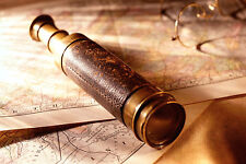 Framed Print - Nautical Map and Spyglass Telescope (Picture Poster Art Pirate)