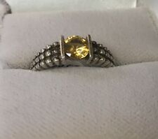 In Sterling Beaded Band Size 9 Vintage Citrine Yellow Cubic Zirconia Round Set