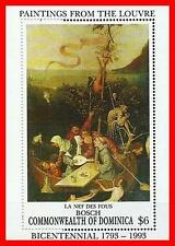 """LOUVRE MUSEUM = DOMINICA 1993 MNH  **  BOSCH PAINTINGS S/S """"SHIP of FOOLS"""""""