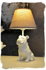 Vintage Bully lamp pug table lamp white lamp dog sculpture fabric lampshade new