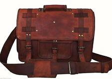"""18""""  Briefcases Vintage Handmade Leather Messenger Bag For Laptop Best School"""