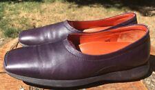Hogan Women's Purple Leather Slip On Flat Loafers Size 8.5 US