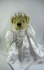 """Vintage Lady Elizabeth Tan Teddy Bear Wedding Bride Nice Shape 16"""""""