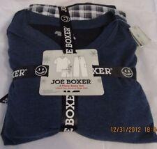 JOE BOXER SMALL MENS 3 PIECE PAJAMAS BLUE  SHIRT SHORTS PLAID BOTTOMS BLACK NWT+