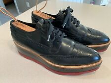 PRADA Women's Black leather Platform Wingtip Shoes Size 41 (Italy)