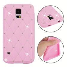 Samsung Galaxy s5 silicona case brillo bling Rhombus protectora, funda, rosa