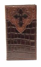 Ariat Western Mens Wallet Leather Rodeo Croc And Cross Brown A3529202