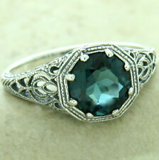 ART DECO ANTIQUE FINISH 925 SILVER LONDON BLUE SIM TOPAZ RING SIZE 8,     #1174
