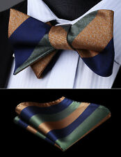 Woven Party Wedding Brown Blue Striped Self Bow Tie Pocket Square Set#BS907BS