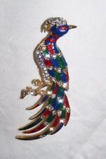 LARGE ENAMEL AND DIAMANTE PHOENIX BROOCH GOLD PLATED LOVELY QUALITY