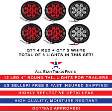 "4"" Inch 12 LED Round Stop/Backup/Reverse Truck Tail Light Kit - 4 Red + 2 White"