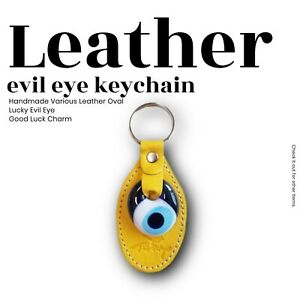 Evil Eye Yellow Oval Key Chain