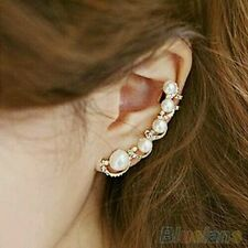 #1166 Fashion Women 1 Piece Ear Hook Gold Plated Crystal Rhinestone Stud Earring