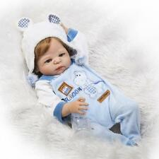 "23"" Full Body Silicone Reborn Babies Toddler Boy Dolls Rooted Hair Bebe Newborn"