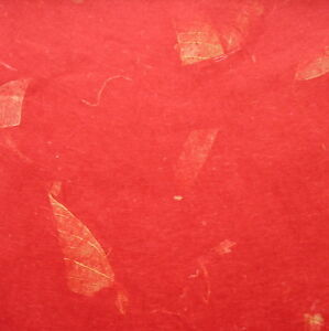 10 LARGE SHEETS PREMIUM tissue MULBERRY PAPER + mango leaf RED, DARK RED 35 gsm