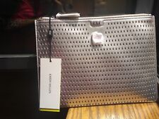 NEW Karen Millen clutch envelope zip, evening bag, silver, perforated
