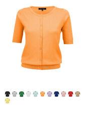 YEMAK Women's Short Sleeve Crewneck Button-Down Casual Cardigan Sweater MK3467