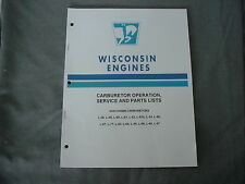 WISCONSIN ENGINE CARBURETORS SERVICE & PARTS MANUAL L-26 THRU L-97 BRAND NEW