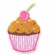 Cupcake Iron On Patch Cherry Ice Cream Dessert Embroidered Badge Applique Crafts