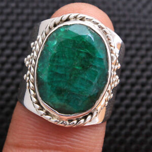 Solid Faceted Sakota Mine Emerald 925 sterling silver Heavy Ring Choose Size
