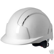 JSP Evolite Helmet (Standard Peak) White Hard Hat Safety PPE - Wheel Rachet