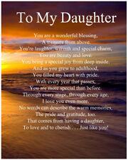 Personalised To My Daughter Poem Birthday Anniversary Christmas Gift Present