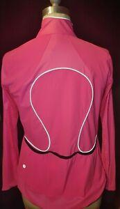 NWT LULULEMON neon Pink/black full Zip multi.Pockets cyclist LS reflect jacket 6