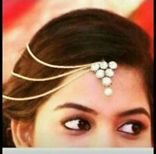 Indian Women Gold Plate Pearl Hair Head Chain Forehead Jewelry Bridal Maangtikka