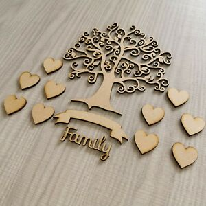 Wooden Family Tree MDF Blank Decor Wedding  Gift Hearts Craft Embellishments T2
