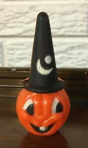 "Vintage Halloween 4"" Plastic Jack-O-Lantern Pumpkin Hong Kong"
