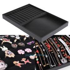 Jewelry Organizer Display Case PU Velvet Tray Necklace Ring Bracele Show Box