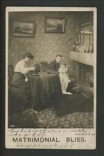 Comic Vintage real photo postcard RPPC Hen Pecked Men Bamforth sewing machine