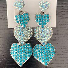 Blue Zircon Fashion Drop Heart Earrings made with Genuine Swarovski Elements