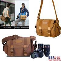 Canvas Camera Bag Shockproof Shoulder Messenger for Canon Sony Nikon SLR Durable