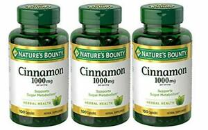 Cinnamon by Nature's Bounty, Herbal Supplement, 100 Count (Pack of 3)