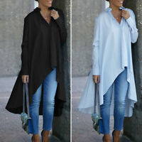 Mode Femme Chemise Loisir Ample Asymétrique Coton Revers Manche Longue Haut Plus