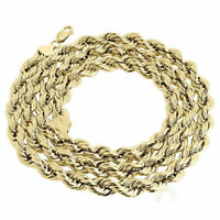 10K Yellow Gold 7mm Diamond Cut Hollow Rope Link Chain Mens Necklace 22-30 Inch