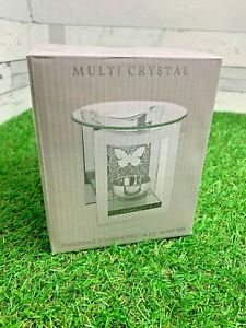 Tea Light Oil Warmer Butterfly Wax Melt Fragranced Crystal Glass Silver Dish